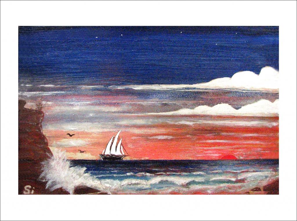 Sailing by Rocky Coast
