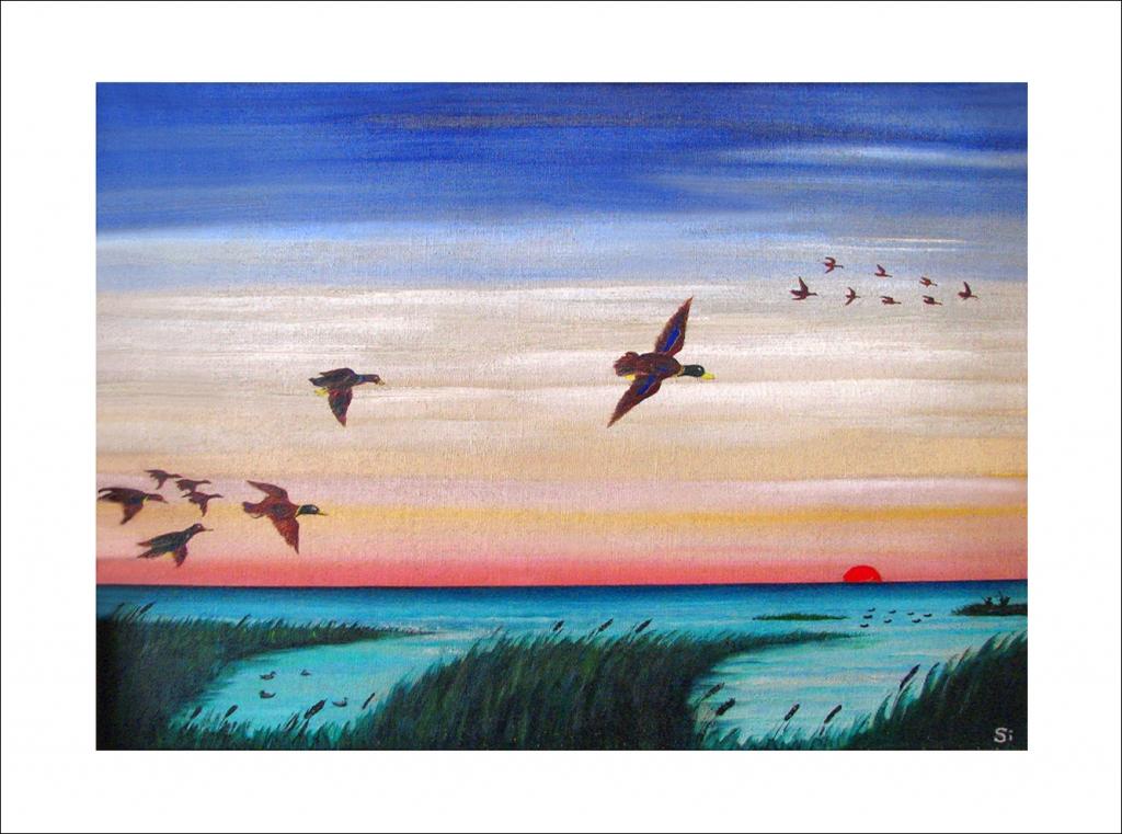 Ducks Flight at Dusk