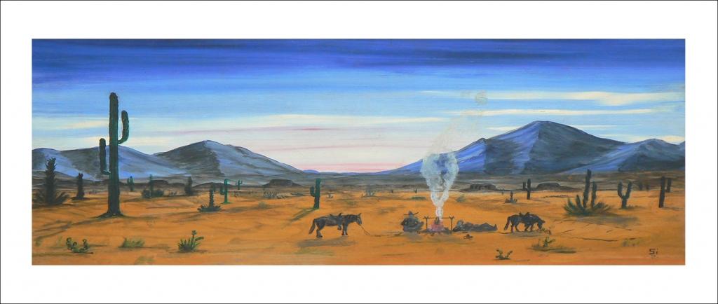 Lonesome Cowboy Desert Campfire